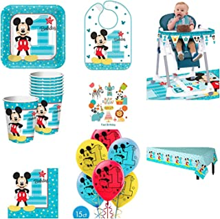 1st Birthday Mickey Mouse Party Supplies Pack Including Plates, Cups, Napkins, Table Cover, High Chair Kit, Bib and Balloons for 16 Guests Mickey Fun to be One!