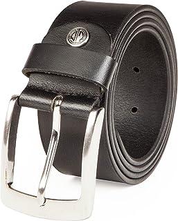 LINDENMANN Mens leather belt/Mens belt, full grain leather belt XXL, 2 Colors, black/dark brown