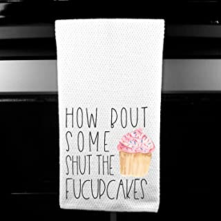 How Bout Some Shut the Fucupcakes Funny Adult Cupcake Kitchen Tea Bar Towel Gift for Women
