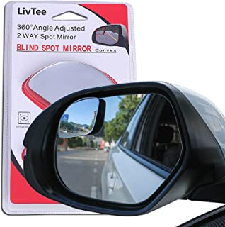 LivTee Blind Spot Mirror,Newest Fan Shaped HD Glass Frameless Convex Rear View Mirror with wide angle Adjustable Stick for...
