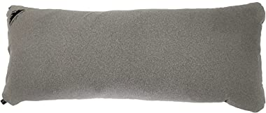 Featherlight Full Size Inflatable Body Pillow with Soft Cotton Cover for Travel, Camping, & Backpacking (Grey/Black, Comf