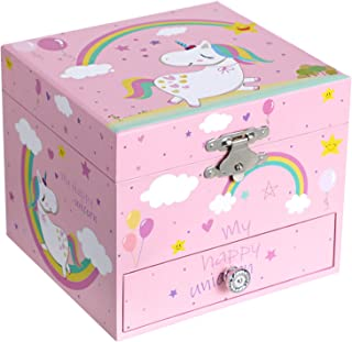 """SONGMICS Ballerina Musical Jewelry Box for Kids Ages 3 to 5, Cute Unicorn Theme, 4.7""""L x 4.3""""W x 3.9""""H, Pink"""
