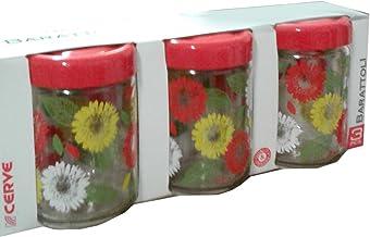 Confezione da 3pz Contenitori barattoli in vetro decorato fiori con tappo ermetico salvafreschezza sale zucchero caffè Cer...