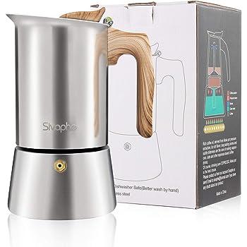 Sivaphe Cafetera Italiana 9 Tazas, Cafetera Moka Espresso en Acero Inoxidable, 450ml para la Cocina de inducción, Estufas de Gas, Uso Doméstico, la Oficina yexteriores: Amazon.es: Hogar