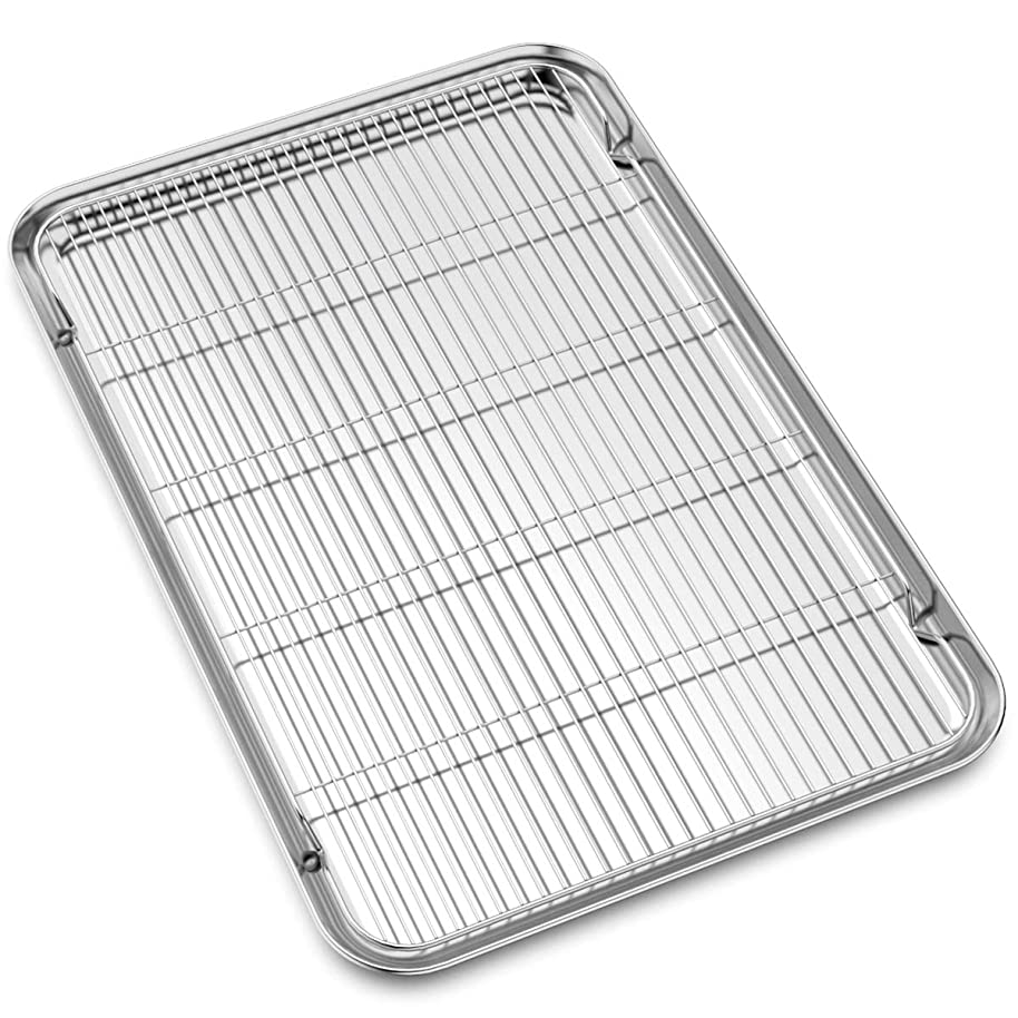 Large Set Baking Sheet and Cooling Rack Set, Bastwe 24L x 16W x 1H inch Professional Bakeware, Healthy & Nontoxic & Rustproof & Easy Clean