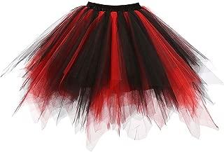 red shirt black skirt