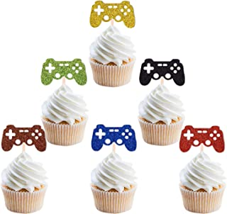 Video Game Cupcake Toppers Glittery Cardstock Perfect For Gaming Theme Party Birthday Anniversary Wedding Engagement Decorations 24Pcs