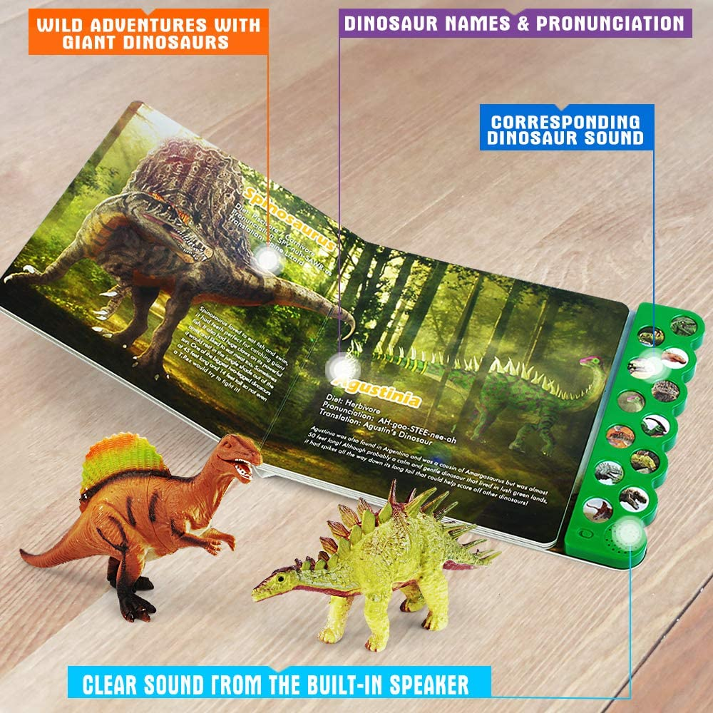Olefun Dinosaur Toys for 3 Years Old & Up - Sound Book & 12...