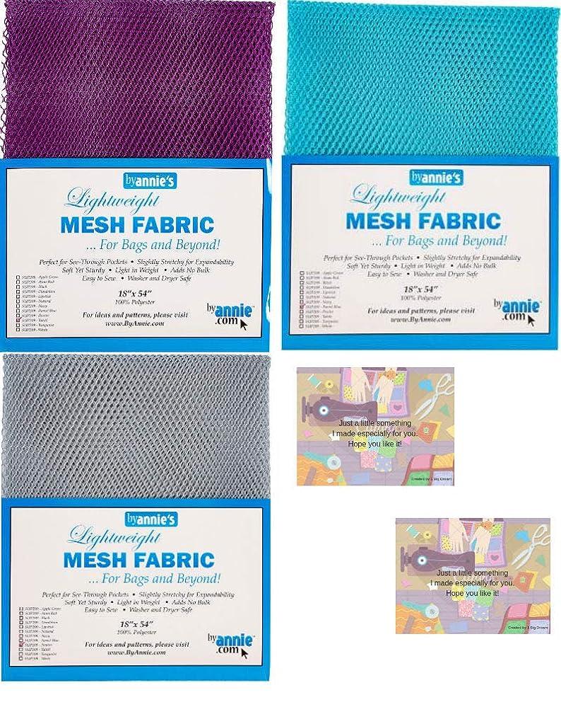 ByAnnie's Mesh Fabric Lightweight Bundle-Pewter, Tahiti, Parrot Blue 18