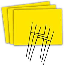 Headline Sign - Blank Yard Sign and H-Frame Ground Stake Sign Holder Set, Yellow, 18 x 24 Inches, 3-Pack (5501)