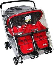 Pinji Universal Double Jogging Stroller Rain Cover Weather Shield Waterproof Windproof Protection 2#
