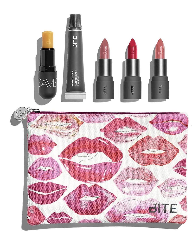 灰狂気割合バイト ビューティー リップセット ポーチ付き Bite Beauty Kiss 'N Fly Lip Care & Lipstick Set マスカラ アイライナー アイブロー メイクアップ