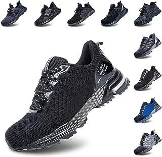 Zapatos de Seguridad Hombre Mujer Zapatillas de Trabajo con Punta de Acero Ligeros Calzado de Industrial y Deportivos Negro Azul Gris Número 36-50 EU