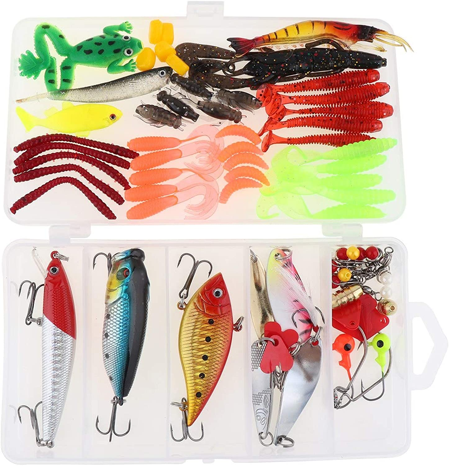 Generic 91pcs lot Almighty Fishing Lure Kit Mixed Minnow Popper Metal Spoon Lures Hook Fishing Accessories Set with Box