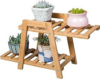 حامل نباتي صغير - رف نباتي من الخيزران بطبقتين ورف زراع للنضرة والزهور والورد. رائعة للعرض الداخلي والخارجي على سطح المنضد...