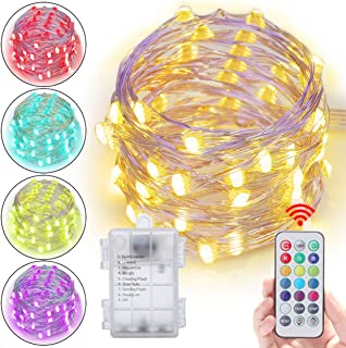 Abtong Led String Lights Battery Powered 13 Colors Battery Fairy Lights with Remote Waterproof Firefly Twinkle Lights Sliver Cooper Wire Lights for Bedroom Patio Outdoor Garden 5M 16.4ft