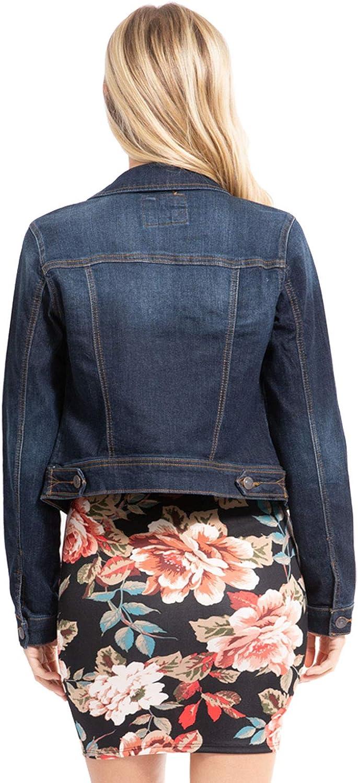 Design by Olivia Women's Classic/Destroyed Vintage Blue Stone Washed Long Sleeve Denim Jean Jacket