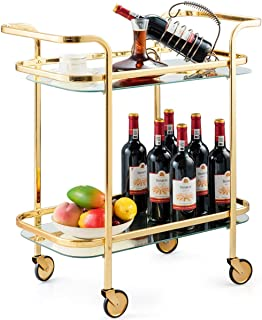 Tangkula Gold Bar Cart, Rolling Serving Cart with Metal Frame and 2 Tempered Glass Shelves, Easy to Move with 4 Wheels, Ideal for Kitchen, Living Room, Hotel, Wine/Tea Serving Cart (Gold)