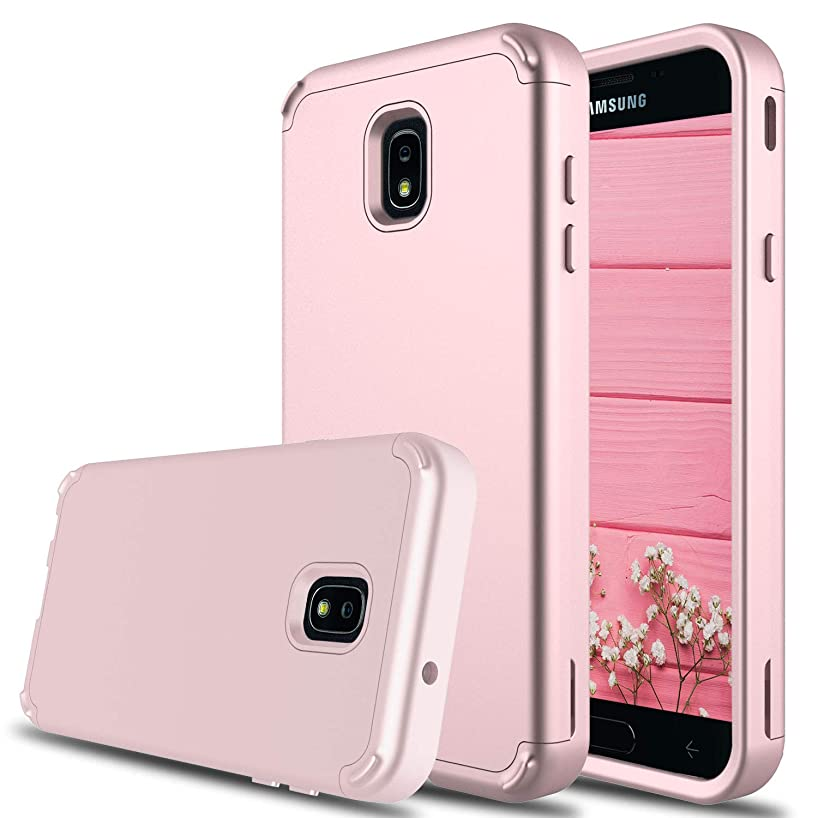 Galaxy J7 Star Case, J7 Crown S767 Case, J7 2018 Case, J7 Refine Case, DONWELL Shockproof Flower Pattern Hybrid Protective Armor Cell Phone Case for Samsung Galaxy J7 Eon / J7 Aura (Rose Gold)