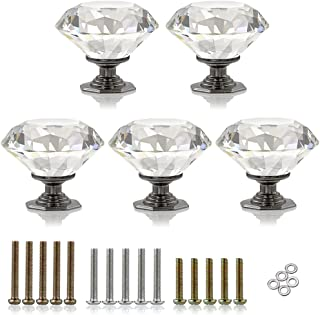 BTSKY 5 Pcs 50mm / 2 Inches Clear Glass Crystal Cabinet Knobs-Diamond Shape Wardrobe Large Door Knobs/Cupboard Drawer Pull Handle/Glass Dresser Knobs,Come with 3 Kinds of Screws