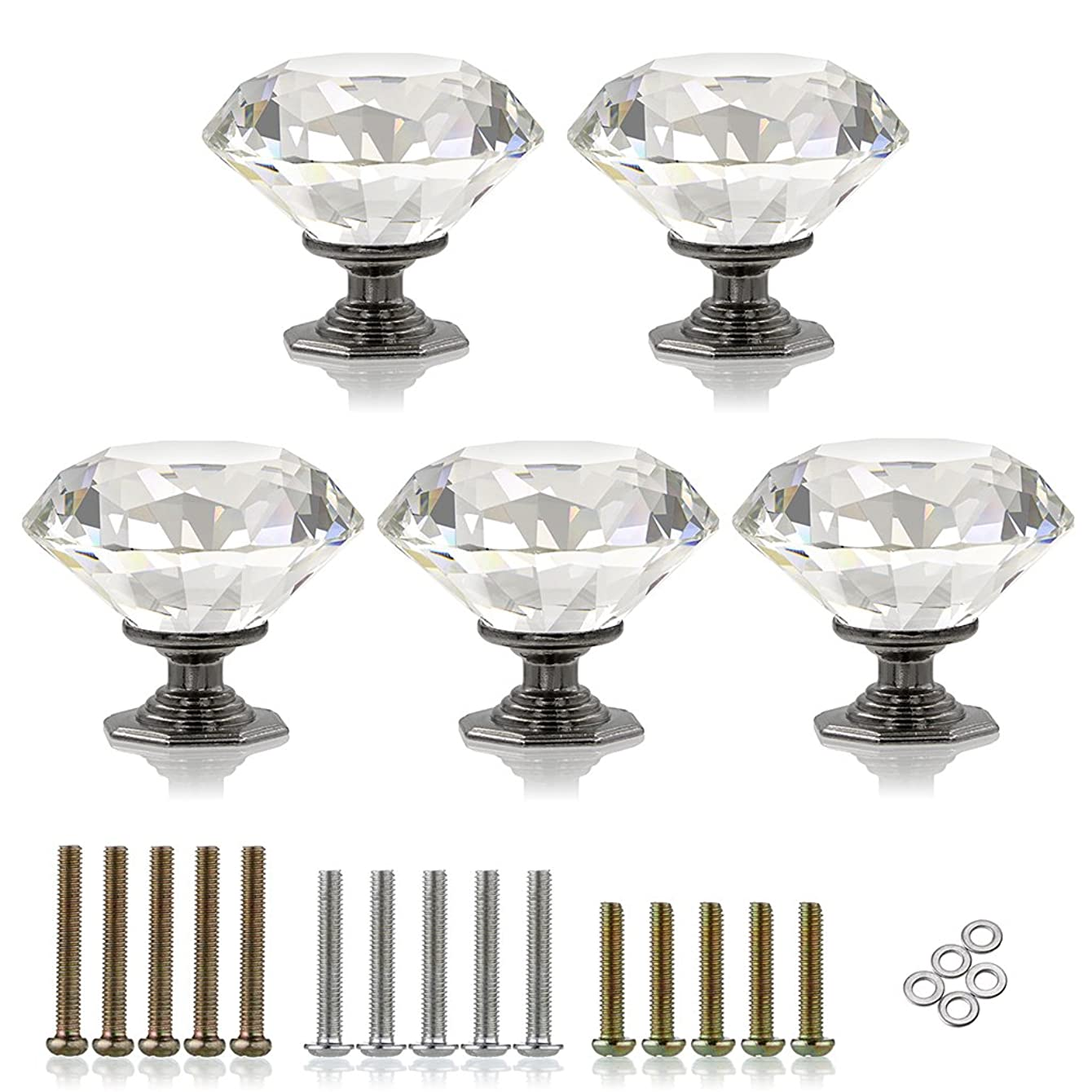 Sumnacon 50MM Diamond Shape Clear Crystal Glass Door Knobs with 3 kinds of Screws, 5 Pieces