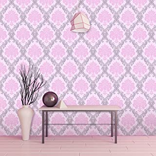 LIFAVOVY Pink Damask Peel and Stick Wallpaper Waterproof Removable Contact Paper Decorative Self Adhesive Shelf Drawer Liner Roll 17.7