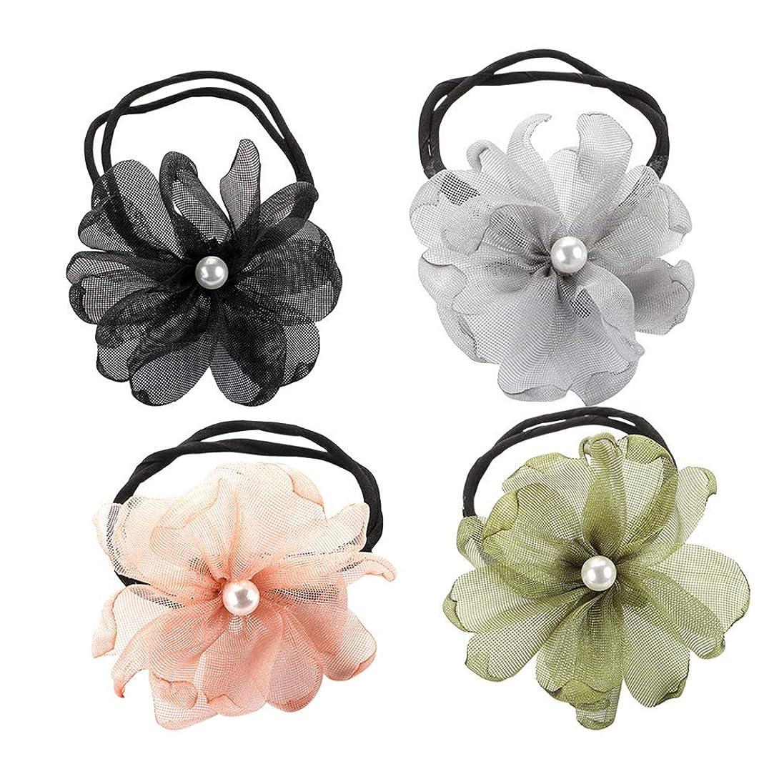 使用法ショット偏心Lurrose 4本のレースの花のヘアネクタイパールストレッチヘアリング弾性ポニーテールホルダーヘアアクセサリー(ブラック/ピンク/アーミー/グリーン/グレー)