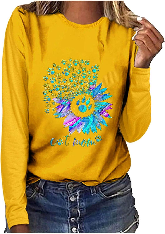 Cute Tops for Women,Women's Crew Neck Tunic Tops Casual Long Sleeve Sweatshirts Tops Basic T-Shirt