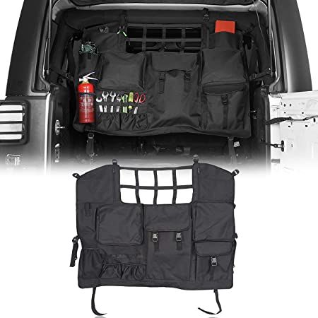 u-Box Rear Seat Cover Trunk Tool Organizers Cargo Net with Storage Pouch Bags Hanging Nets Compatible with 2007-2021 Jeep Wrangler JK JL 4 Doors