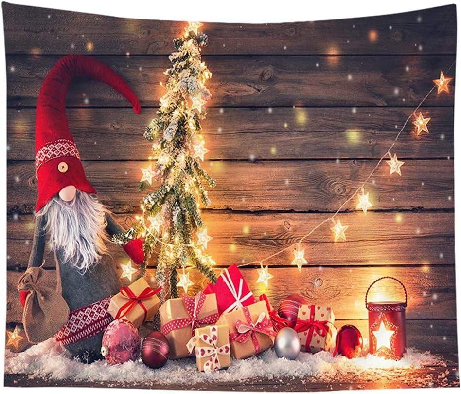 Tapiz de Navidad Pared Colgante Gran Pared Telón de fondo Gnomos Chimenea Árbol de Navidad Impreso Bohemio Colgante Tapiz Arte Fotografía De Fondo Muebles Sofá Cubiertas de Mesa, 59x79 Pulgadas