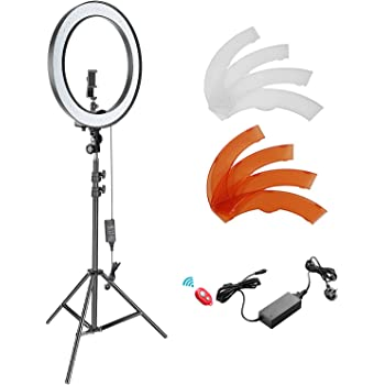Led Ring Light Continuous Lighting Kit Stepless Dimming Multiple Brightness Adjustment with Tripod Cell Phone Spring Clip Holder