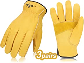 Vgo 3Pairs Unlined Cow Grain Leather Work and Driver Gloves with Cow Split Leather Palm..