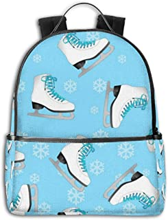 AFSpant Unisex Stylish Schoolbags, Laptop Backpack, Multifunction Durable Leisure College Student Daypack -Figure skating ice skates blue with snowflakes