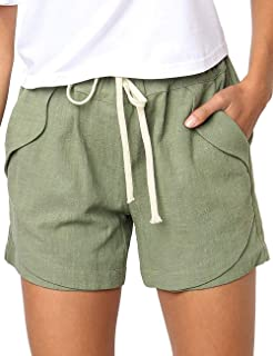 CILKOO Women's Drawstring Elastic Waist Casual Comfy Cotton Linen Beach Shorts(S-XXL) - - Small