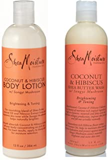 SheaMoisture Coconut & Hibiscus Body Wash & Deep Moisturizing Lotion - Includes 13 oz. Body Wash & 13 oz. Body Lotion