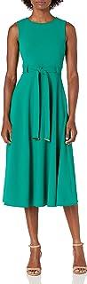 Calvin Klein Women's Sleeveless A-line Belted Midi Dress