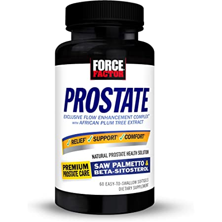Force Factor Prostate Saw Palmetto and Beta Sitosterol Supplement for Men, Prostate Health Support, Prostate Size Support, Urinary Relief, Bladder Control, Reduce Nighttime Urination, 60 Softgels