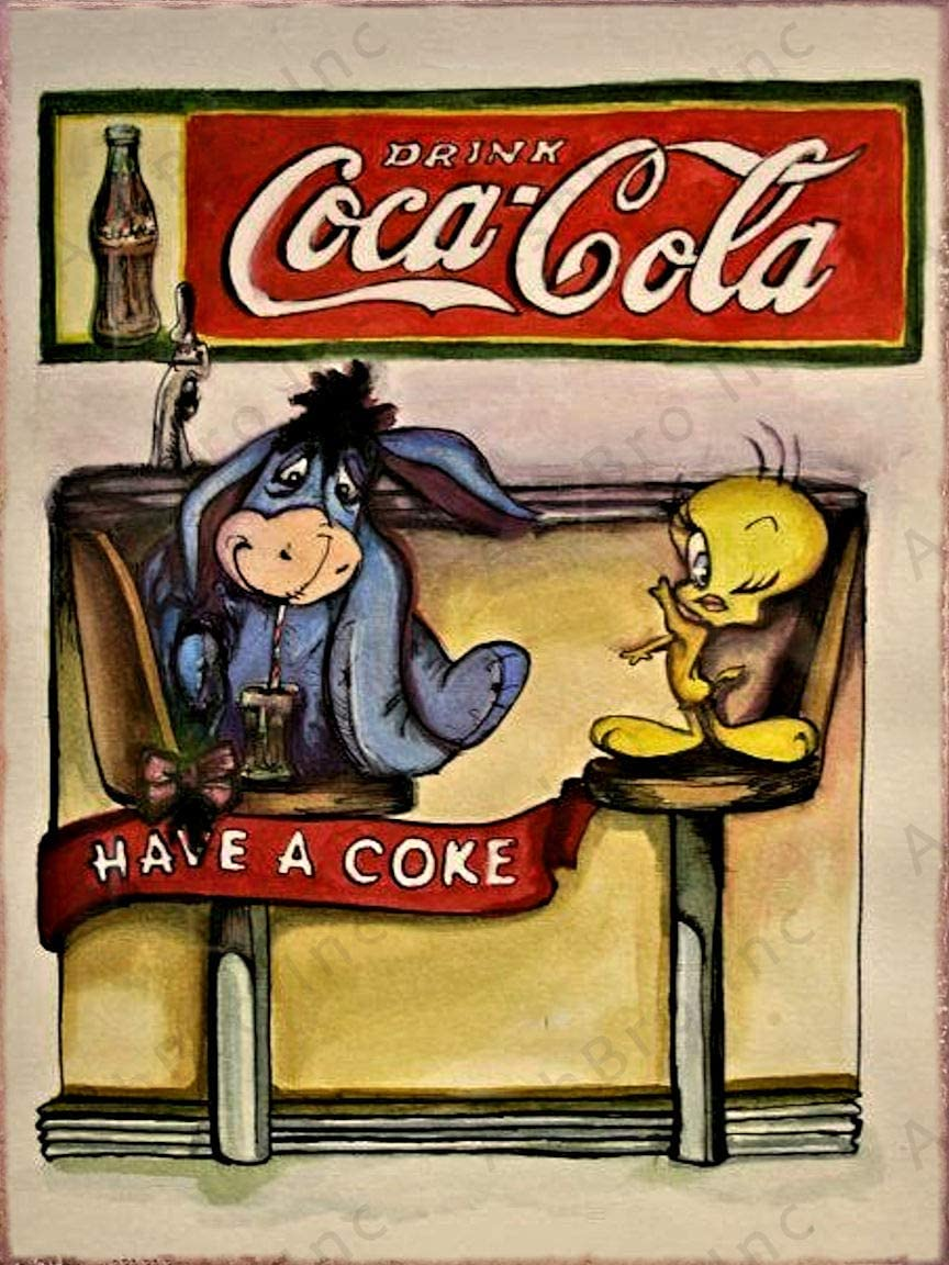 AshBro Metal Coke Tin Sign Tweety Bird Eor Coca Cola Wall Decor Retro Posters Coca Cola Sign Vintage Coca Cola Signs Coke Decor 50's Retro Kitchen Cocacola Vintage Coke Sign Coca Cola Poster 12x8