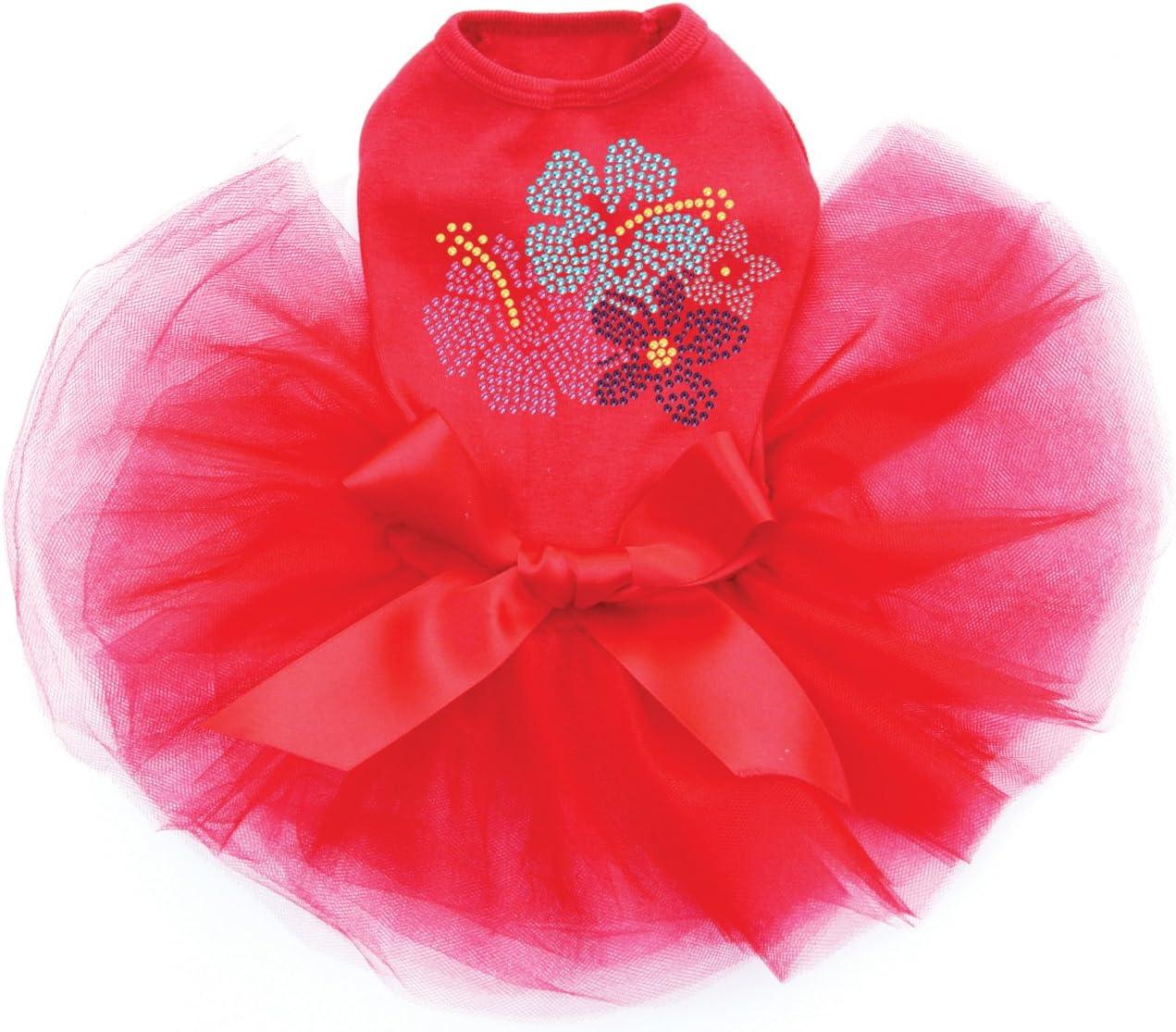 Pink Blue Purple Hibiscus - Dog Overseas parallel import regular item Trust Rhinestone Dress Tutu Bling