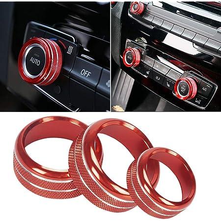 Zqirolt Ein Schlüssel Startknopf Dekor Ring Metallautokreis Für Bmw 1 2 3 3gt 4 X1 Serie Red Auto