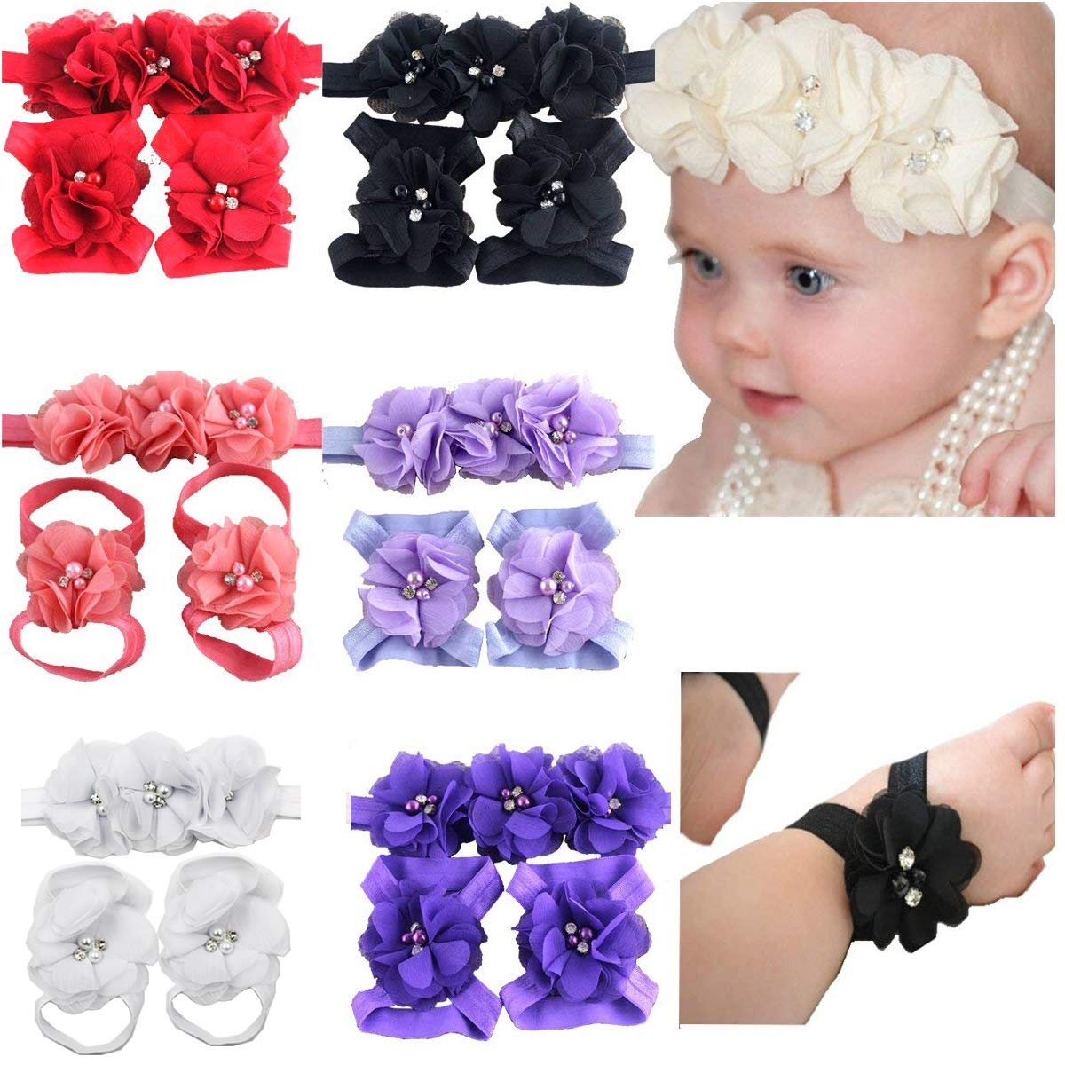 6 Colors Manufacturer OFFicial shop Baby Max 54% OFF Girl Flower Headbands Sandals Barefoot Ha Set