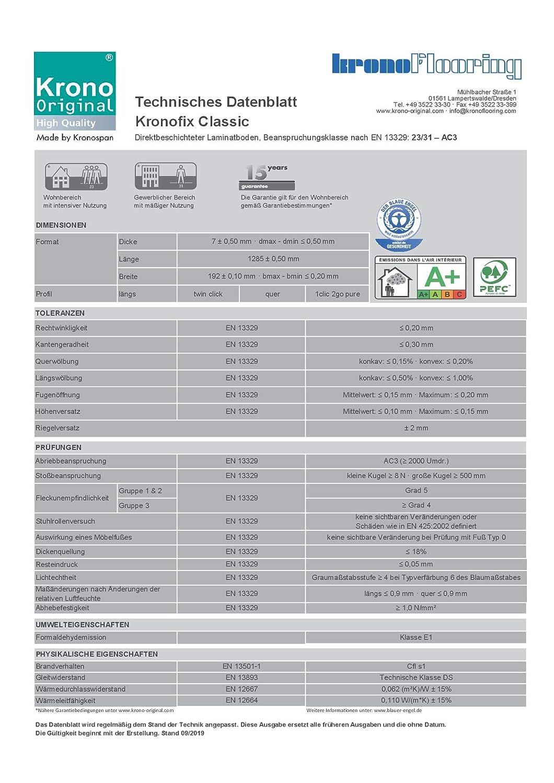 Laminatboden | 1 m/², Salt Lake Oak Format: 1285 x 190 mm Laminatboden TRECOR/® 8 mm Stark mit Fase Klicksystem Sie kaufen 1 m/² Fu/ßbodenheizung geeignet NKL AC4//32 Garantie 20 Jahre