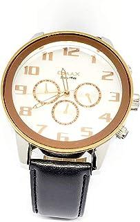 ساعة اوماكس للرجال - رياضية، متعددة الألوان، مينا ابيض - سوار من الجلد - مقاومة للماء - Beeb1222