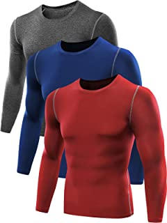 Men's 3 Pack Athletic Compression Sport Running Long Sleeve T Shirt