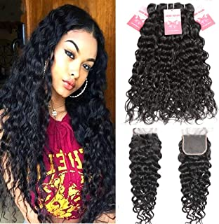 Premium Brazilian Hair Water Wave Bundles with Closure, 100% 8A+ Unprocessed Virgin Curly Hair Extensions, Wet and Wavy Human Hair Bundles with Closure Free Part Natural Black (18/20/22+16 Inch)