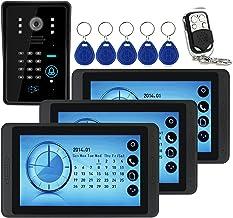 Wachtwoord Videodeurbel, Intercom, Bedraad 7 Inch Videodeurtelefoonsysteem, 3 Touchscreenmonitoren + IR-Nachtzichtcamera +...