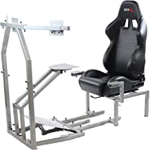 GTR Simulator - CRJ Model Flight Simulator with Adjustable Leatherette Seat, Flight Simulation Cockpit with Dual Control Mount and Triple or Single Monitor Stand