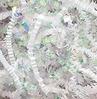 Crinkle Cut Paper Shred Filler White & Iridescent for Gift Wrapping & Basket Filling - (1/2 LB)