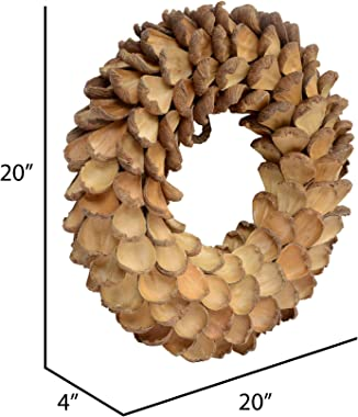 """Vickerman Natural Arti Pod Wreath 20"""", Real Preserved Foliage Decor for Home or Everyday Accents, Indoor Use Only"""