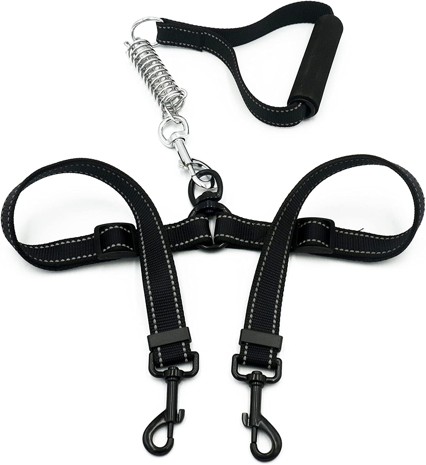 Clivia Double Dog Leash, No Tangle Dual Dog Walking & Training Leash with Spring Force Padded Handle and Shock Absorbing Bungee Lead by Walk 2 Dogs with Ease